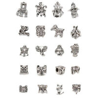 20Pcs/Set Silver Animal Elephant Charms Loose Spacer Beads DIY Jewelry MakiDD