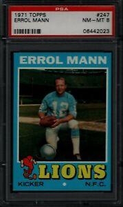 1971 TOPPS #247 ERROL MANN PSA 8 NM-MT DETROIT LIONS FOOTBALL