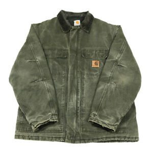 CARHARTT Quilt Lined Traditional Coat | Large | Workwear Canvas Jacket Padded