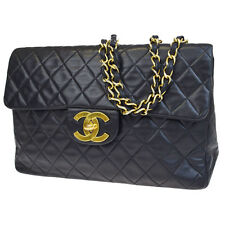 Auth CHANEL CC XL JUMBO Matelasse Quilted Chain Shoulder Bag Leather BK 674V249