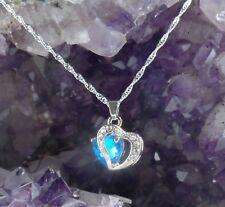 Halskette Herz Kette Herzanhänger blau 925 Sterlingsilber silver plated