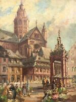 Impressionist K. Lange Marktplatz mit Personen Mainz Dom Kirche 46,5 x 35,5 cm