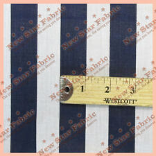 """POLY COTTON STRIPE 1 inch  Fabric 56"""" / 58"""" Width By The Yard Navy Blue / White"""