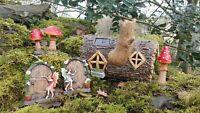 Solar Garden Ornament Fairy Door Magical Statue Fairy Mushrooms Colour Log House