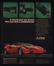 1985 LAMBORGHINI Red Car - ALPINE CAR CELLULAR CELL PHONE & STEREO VINTAGE AD