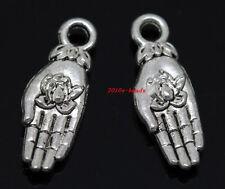 20pcs auspicious Tibet silver hands flower Jewelry Finding Charm pendant