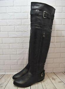 Womens Blue Box Black Zip Up Low Heel Knee High Boots UK 4 EUR 37
