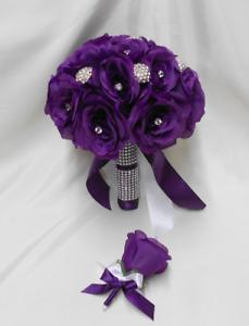 Wedding Silk Flower Bridal Bouquet 2 pieces Bride  Groom Purple Eggplant Brooch