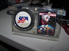 Autographed Deron Quint Team USA Hockey Puck with display-UNH-Signed Puck
