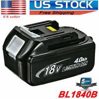 New Battery For Makita BL1840B 18V 4.0Ah Lithium Ion LXT Li-Ion 18Volt 194230-4