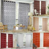 Romantic Floral Tulle Voile Door Window Curtain Sheer Scarf Panel Drape Valance
