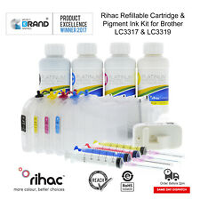 RIHAC PIGMENT LC3317 LC3319 REFILLABLE INK CARTRIDGE KIT FOR BROTHER MFC-J5330