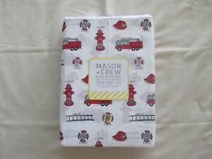 NEW 3pc Twin Sheet Set Mason & Crew FIRE DEPARTMENT Red & Grey on White