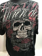 THROWDOWN SKULL ROSES ANY TIME PLACE T SHIRT 2XL