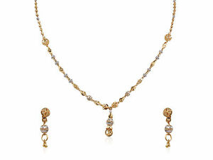 Classy Handmade Bridal Necklace Earrings Set In Solid Certified 22K Yellow Gold