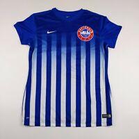 Mens Nike Medium Blue Striped Dri-Fit #15 Nationals S/S Soccer Jersey EUC