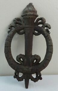 Antique Cast Iron Architectural Torch & Ribbon Wreath Late 19th Century