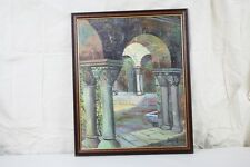 Oil Painting Framed Cathedral Interior Arches Spanish European Courtyard