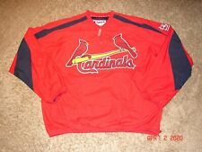 Authentic MAJESTIC - St. Louis CARDINALS BASEBALL 1/4 ZIP PULL-OVER JACKET Sz. L