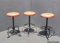 Set of Three Vintage Spanish Style Orange Iron Barstools Mid Century Modern