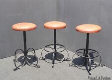 Set of Three Vintage Spanish Style Orange Iron Bar Stools Mid Century Modern