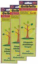 48 x Gelbfalle gegen fliegende Schädlinge in Bäumen, Gelbsticker, Leimfalle