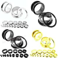 Thick Double Flared Flesh Tunnel Silver 316l Stainless Steel Ear Plug Defender