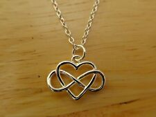 Delicate Heart Infinity Pendant Necklace with 925 Silver Chain