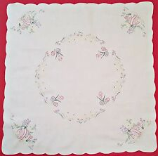VINTAGE EASTER BIG EGGS CHICKENS EMBROIDERY WHITE PINK COTTON SQUARE TABLECLOTH