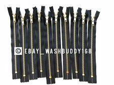 "5 pcs High Quality YKK 9"" #5 Brass Metal Jean Pant Zipper Closed End Black New!!"