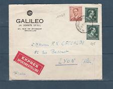 Eta/ enveloppe  Belgique  Exprès  dont timbre du Roi  Lyon  1958