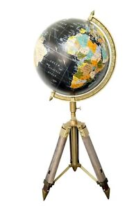 """Nautical Authentic Retro World 12"""" Globe With Table Tripod Stand Modern Style"""