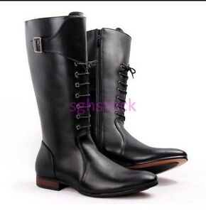 Punk Mens PU Leather Knee High Boots Pointy toe Lace up England style shoes Size