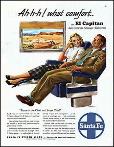 1948 Santa Fe Railroad El Capitan couple reclining vintage art print ad LA8
