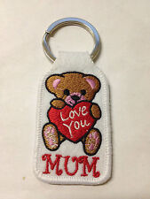 """LOVE YOU MUM"" Keyring Machine Embroidered Patch Key Chain Chrome Rings Keyfobs"