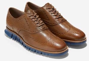 COLE HAAN Zerogrand Wingtip Oxford Men's Medium Roast Leather - Indigo C31167