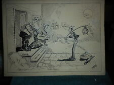 Political Satire Ink Drawing In A Receptive Mood Signed by Haupert