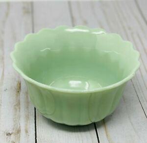 The Pioneer Woman Timeless Beauty Jade Green Milk Glass Dessert Bowl Scalloped