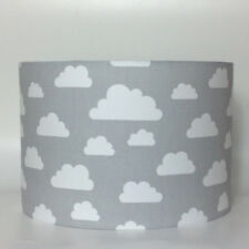 Children's Nursery White Clouds on Grey Fabric Light Shade Ceiling or Lamp Shade