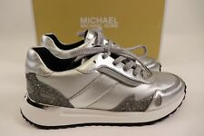 NIB $150 MICHAEL KORS Size 6.5 Womens Silver Metallic Leather MONROE TRAINER