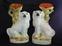 Rare Pair of Large Antique Victorian Staffordshire Spaniel Vases, c1860