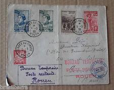 1 Enveloppe envoyée à Rouen pour la journée du Timbre 5 mars 1939