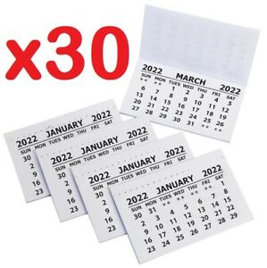 30 X 2022 Calendar Tabs / Insert White Mini Calender Tear Off Pads Month To View