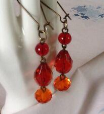Fiery Red Crystal Earrings Czech Faceted Cut Glass Orange Dangle Teardrop Beads