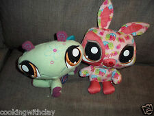 LOT OF 2 LPS LITTLEST PETSHOP PLUSH DOLL FIGURES HAPPIEST BUNNY DRAGONFLY HASBRO