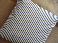 """15"""" Blue & Cream Striped Ticking Cushion Cover"""
