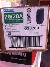 10PC SIEMENS Q2020U 2-1POLE CIRCUIT BREAKERS