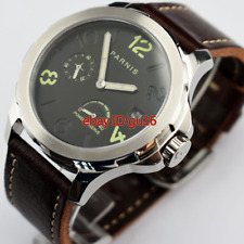 Parnis 44mm black dial Steel Sapphire Power Reserve Automatic date Watch 2229