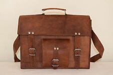 Vintage Leather Briefcase Messenger Bag 13 Inch Laptop Satchel Shoulder Bag