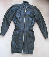MICHAEL HOBAN North Beach Leather Dress L/S Lined Zip Front Womens Black Size XS